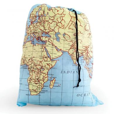 World Map Travel-Size Laundry Bag